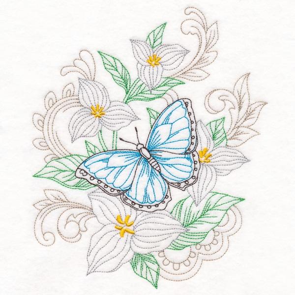 Segeltuchtasche Schmetterling Stickmotiv
