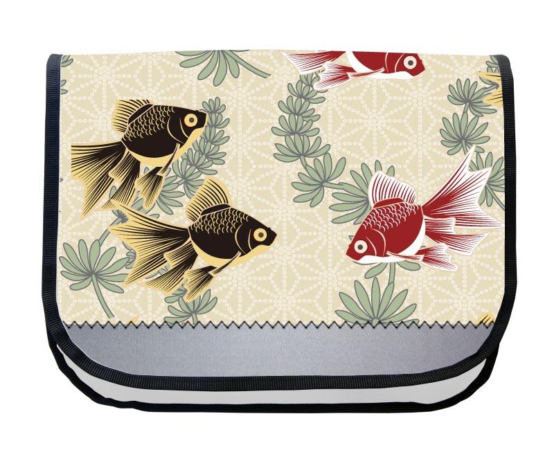 Tordalk Segeltuch Fische Schultasche XL