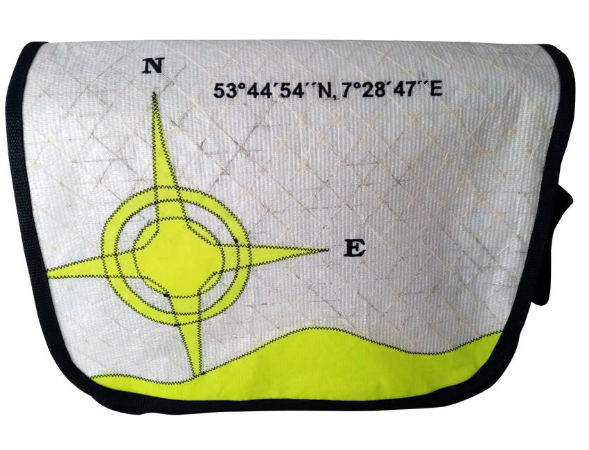 Koordinatentasche Unikat | weiß / gelb | XL
